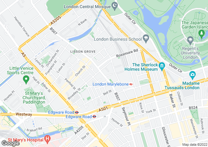 Map for Lisson Grove, Marylebone, NW1