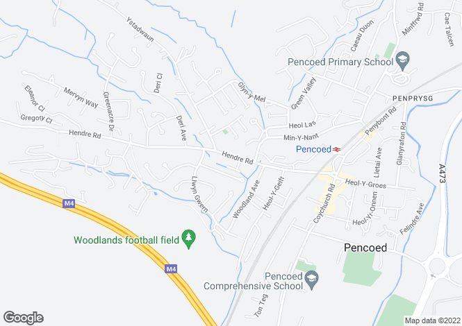 Map for Hendre Road, Pencoed, Bridgend, Mid. Glamorgan. CF35 6TD