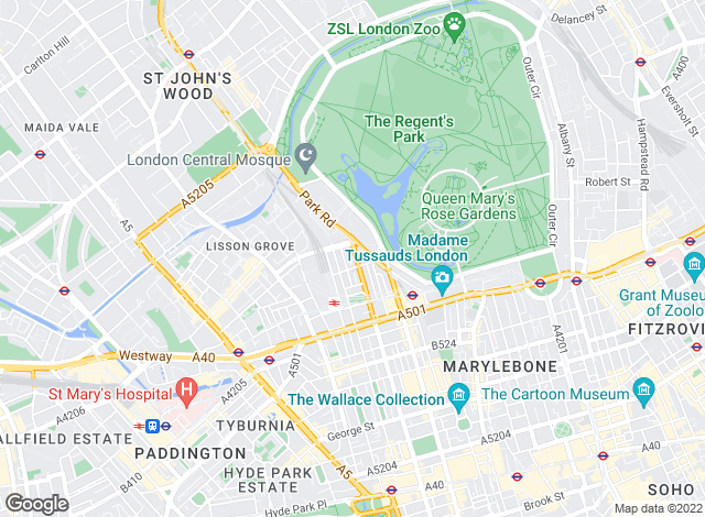 Map for Sandfords, Regents Park