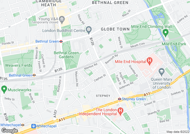 Map for Ibbott Street, LONDON