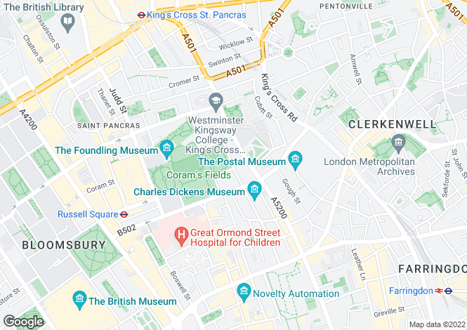 Map for Mecklenburgh Square Holborn WC1N