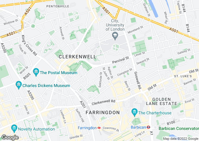 Map for Sekforde Street, Clerkenwell, London, EC1R