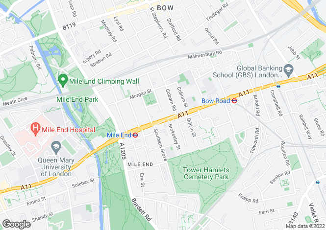 Map for Mile End Road, Bow, London E3