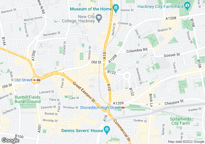 Map for Shoreditch High Street, London