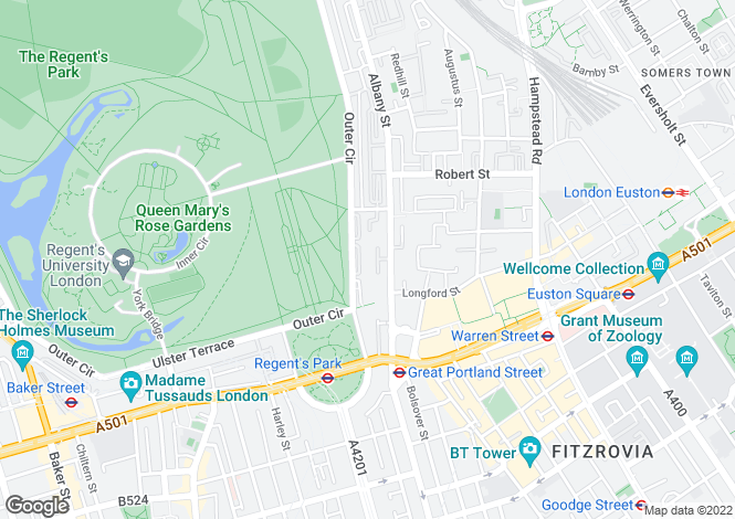 Map for Cambridge Gate, Regents Park, NW1