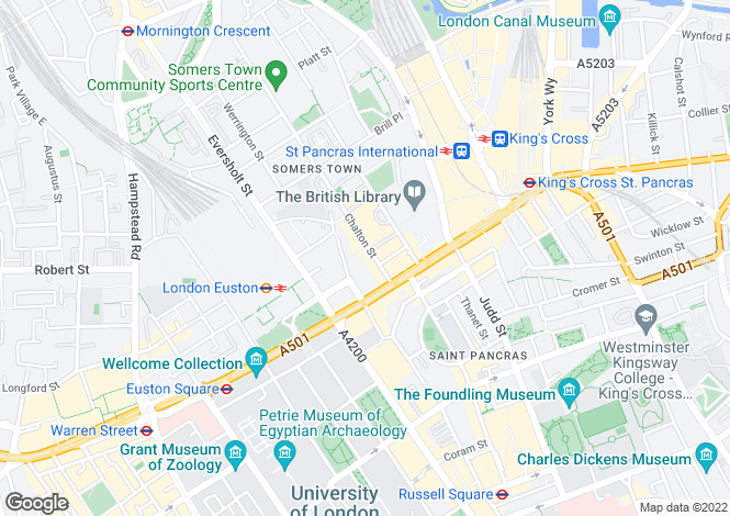 Map for Chalton Street  Bloomsbury