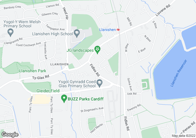 Map for Fidlas Road, Llanishen, Cardiff