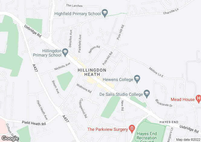 Map for Pole Hill Road, Uxbridge, UB10