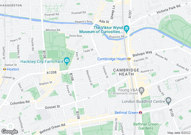 Map for Hackney Road,