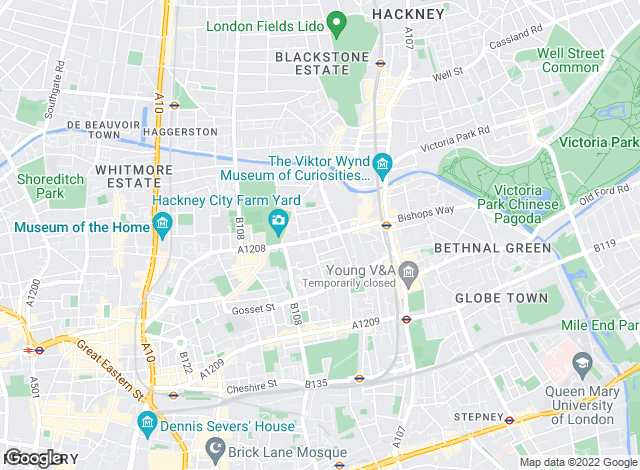 Map for Woodfield Residential, Bethnal Green, London
