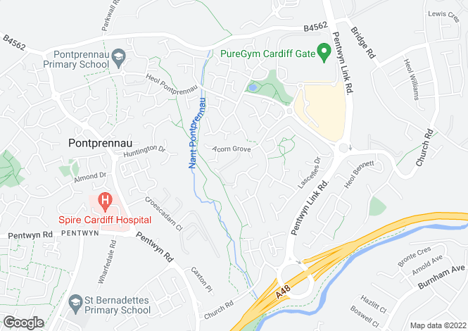 Map for Cowslip Close, Pontprennau, Cardiff