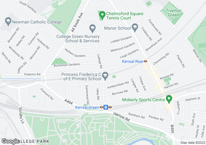 Map for College Road, Kensal Green