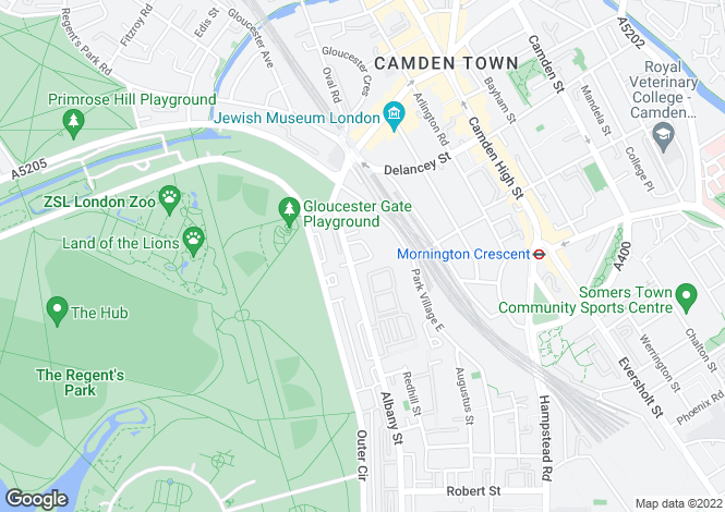 Map for Park Village West, Regent's Park