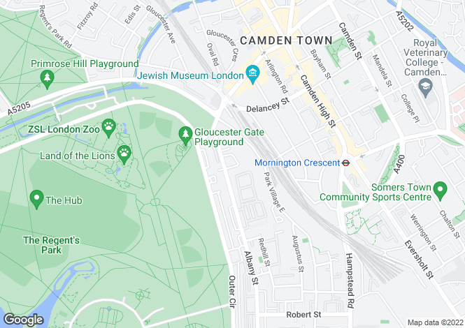 Map for Park Village West, Regent's Park, London, NW1 4AE