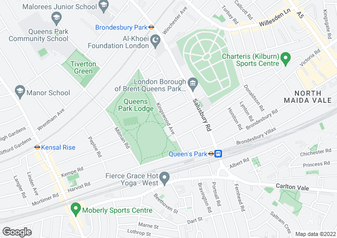 Map for Kingswood Avenue, Queen's Park, NW6