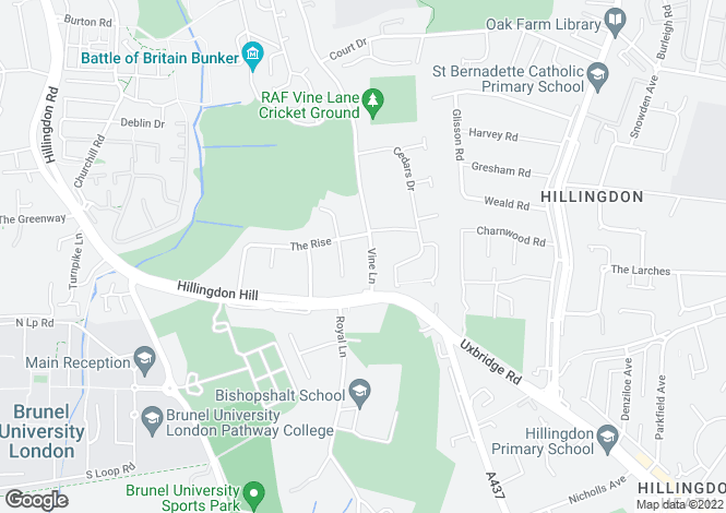Map for Vine Lane, Hillingdon Village, Middlesex, UB10