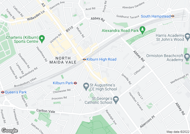Map for Greville Road, Kilburn