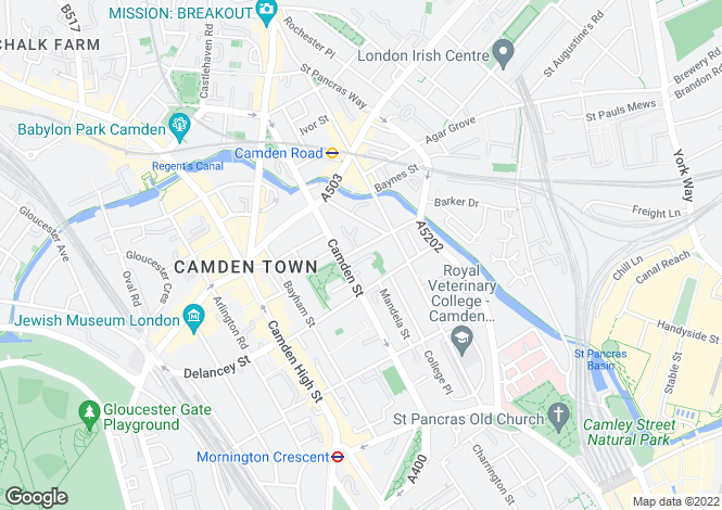 Map for Georgiana Street, Camden
