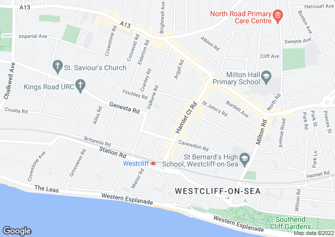 Map for Ditton Court Road, Westcliff on Sea, Essex