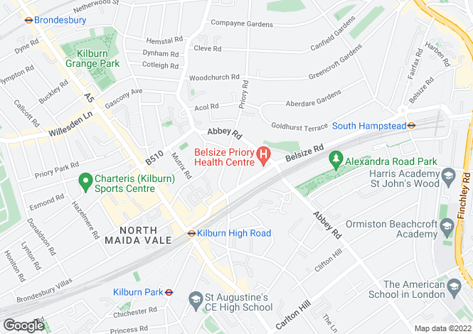 Map for The Villas, Priory Terrace, West Hampstead, London, NW6