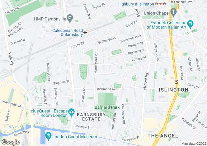 Map for Ripplevale Grove, Barnsbury, Islington, London