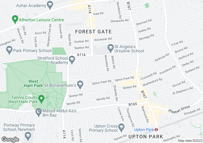 Map for Elmhurst Road, Upton, E7