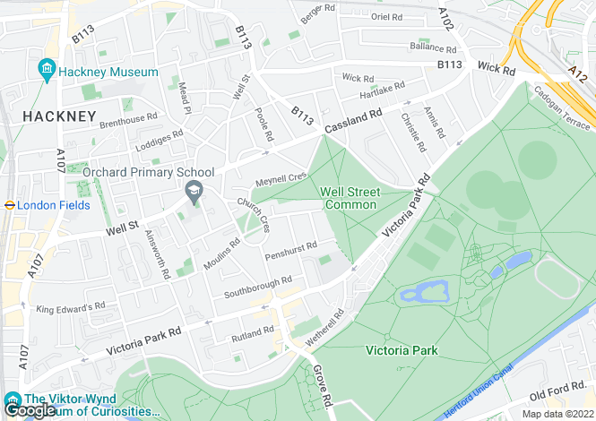 Map for Groombridge Road, South Hackney, E9