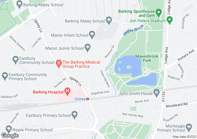 Map for Clare Gardens, Barking, Essex, IG11