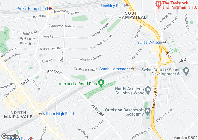 Map for Goldhurst Terrace, South Hampstead, London