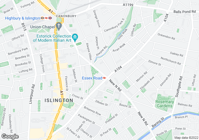 Map for Canonbury Road, Canonbury, Islington, London
