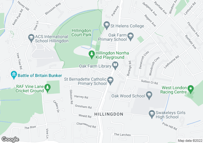 Map for Court Drive, North Hillingdon, Middlesex, UB10