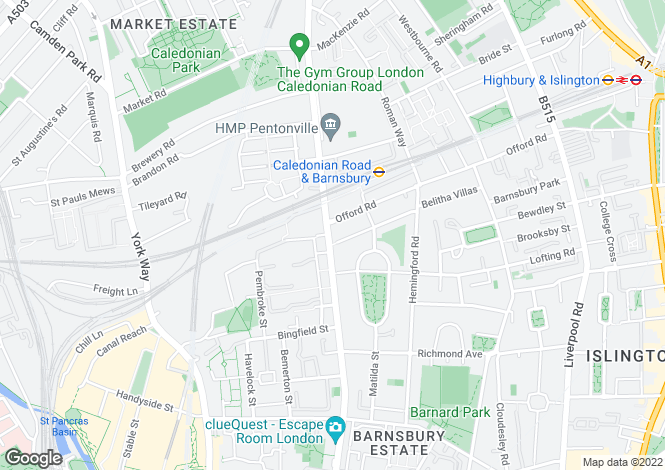 Map for Caledonian Road, London, N1