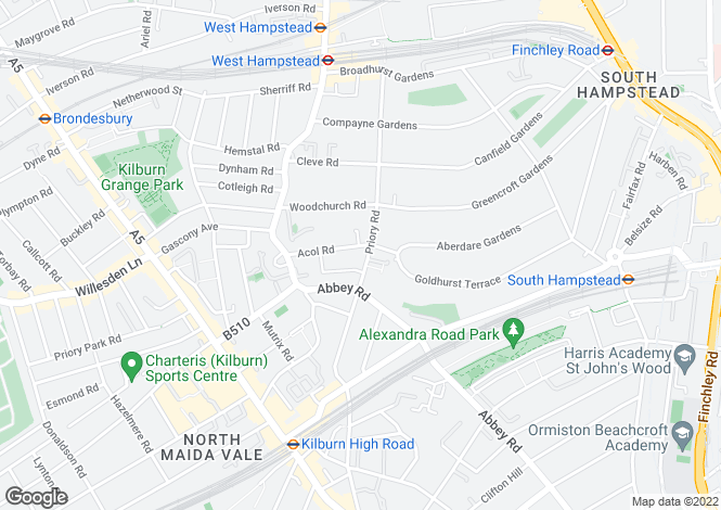 Map for Priory Road, South Hampstead, NW6