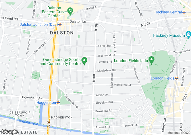 Map for Queensbridge Road, Dalston