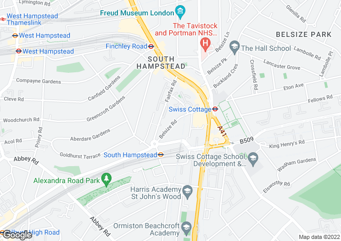 Map for Belsize Road, West Hampstead