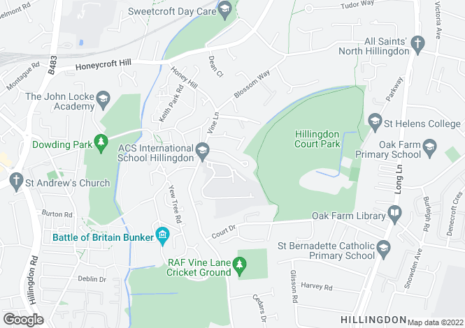 Map for Sylvana Close, Hillingdon, Middlesex, UB10