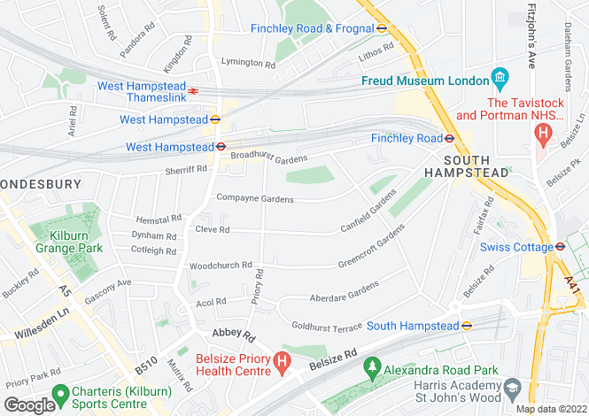 Map for Compayne Gardens, South Hampstead, London, NW6