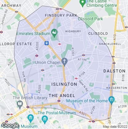 Map of property in Islington