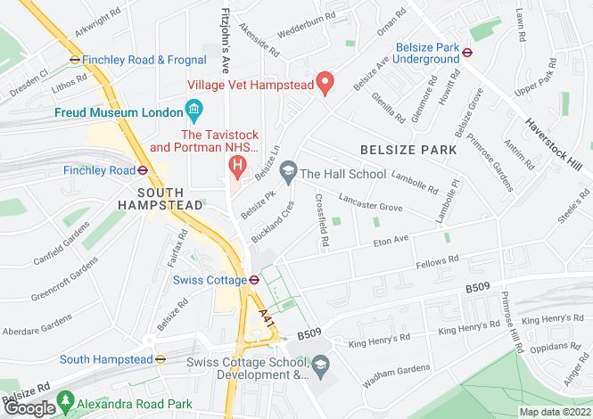 Map for Buckland Crescent, Belsize Park, NW3
