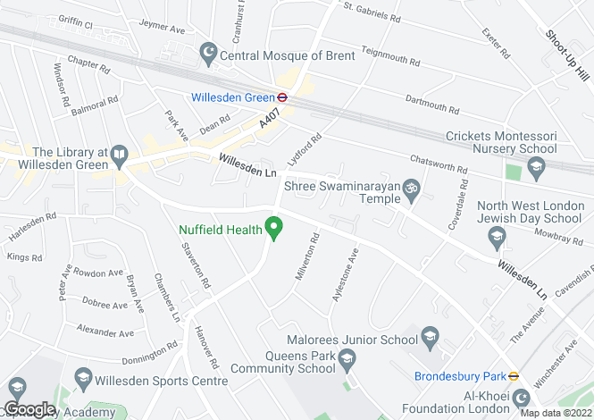 Map for Brondesbury Park, Brondesbury, NW6