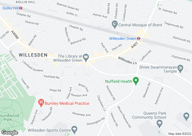 Map for Brondesbury Park, Willesden Green