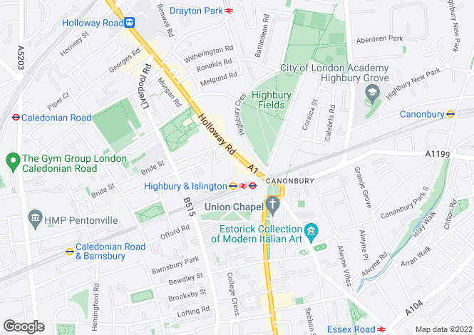 Map for Holloway Road Islington N7