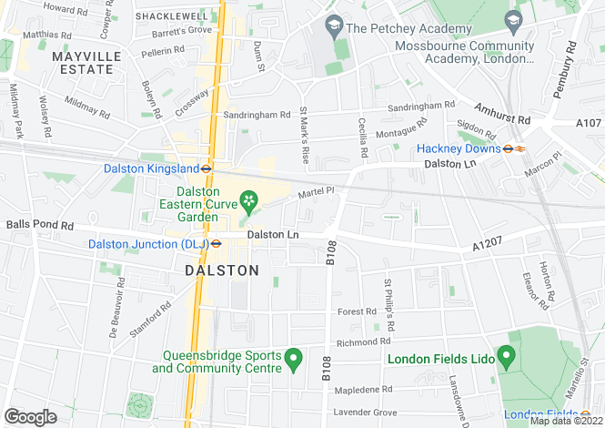 Map for Atlas Mews, Hackney, E8
