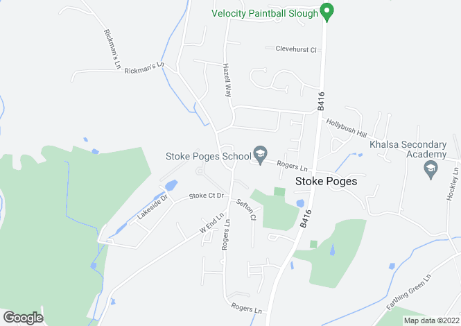 Map for Rogers Lane, Stoke Poges, SLOUGH