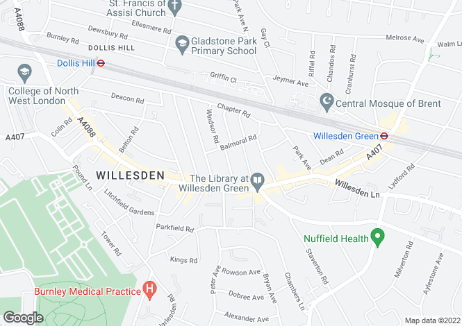 Map for Huddlestone Road, Willesden, London