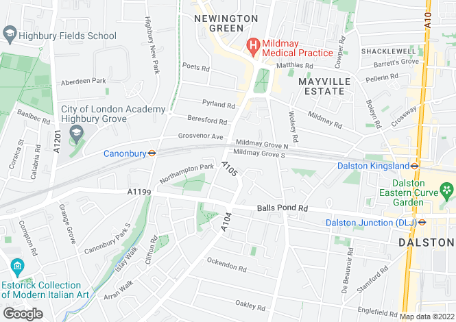 Map for Newington Green Road, N1 4RN