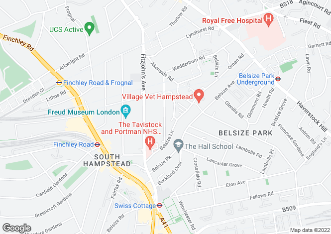 Map for Daleham Gardens, Hampstead, London, NW3