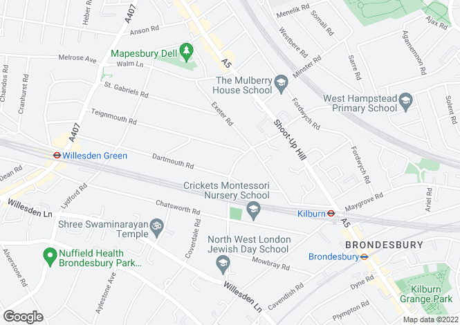 Map for Mapesbury Road, West Hampstead, London, NW2