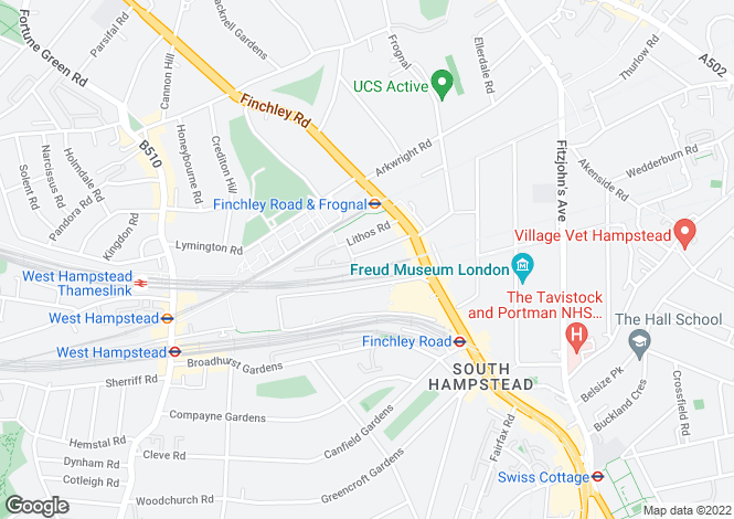 Map for Rosemont Road, South Hampstead, NW3