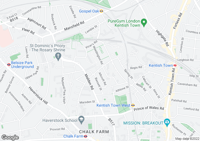 Map for Queens Crescent, Kentish Town, NW5